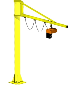 Workshop 1ton to 16ton Fixed Pillar Mounted Cantilever Swing Arm 270 Degree Rotating Jib Crane with Electric Hoist