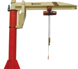 Floor Base Plate Mounted Fixed Column Slewing Manual Rotate 5 Ton Lifting Swing Lever Jib Crane with Motor Hoist