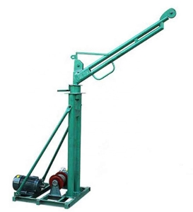 Small Electric Motor Hoist Crane/ 300kg Portable Construction Mini Crane with 220V, 1phase, Rotating 360 Degree for Sale