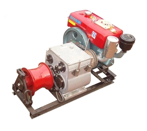 1 Ton Portable Gas Engine Powered Winch for Wire Rope Pulling