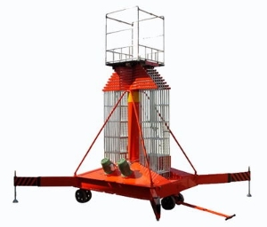 25M Dual ladder rotation prevention hydraulic cylinder lift aerial work