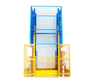 Simple vertical guide rail goods hydraulic lifting machine platform